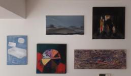 Collage of paintings by Toon Verhoef, Rob van Koningsbruggen, Carla Klein, Marc Mulders and Berend Strik