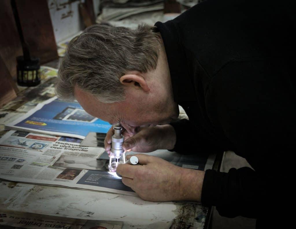 Niels Borch Jensen in Print Studio, photo by Birgitte Rubæk