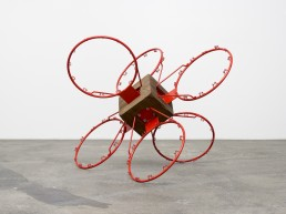 Darío Escobar, Red Star No. 2, 2017, Wood, metal, and pigments, 96 x 116 x 116 cm / 37,8 x 45,67 x 45,67 inches