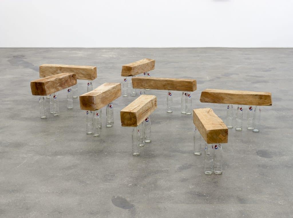 Darío Escobar, Untitled, 2017, Cedar and glass bottles