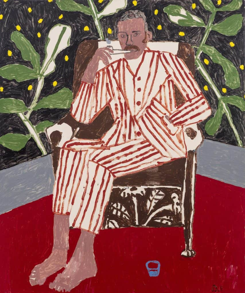 Danny Fox, Barefoot With Striped Suit, 2018