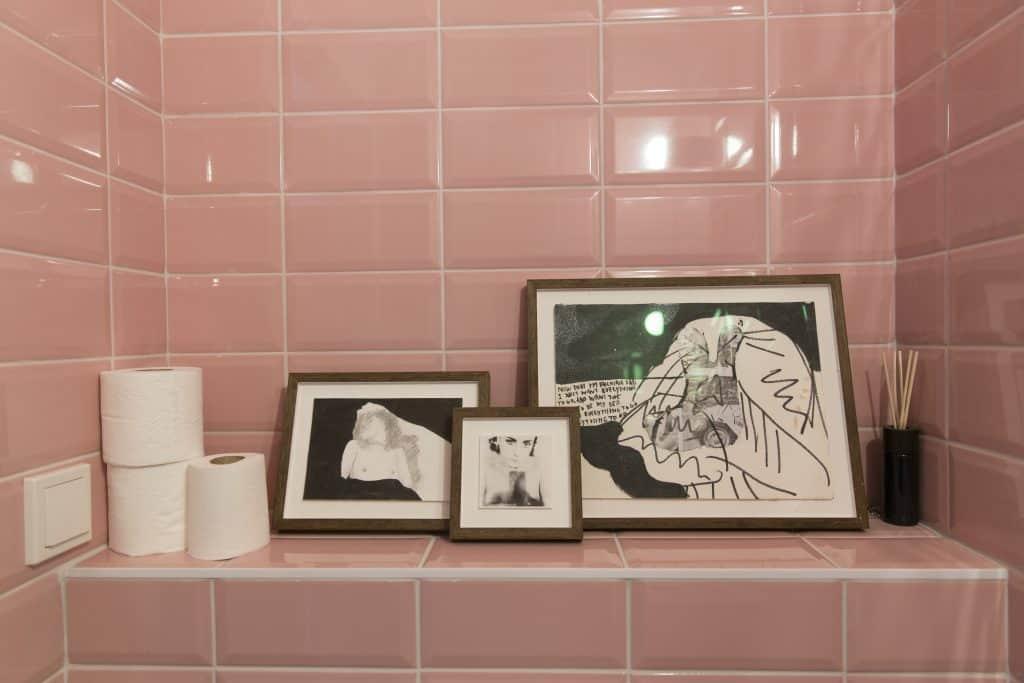 artworks in bathroom
