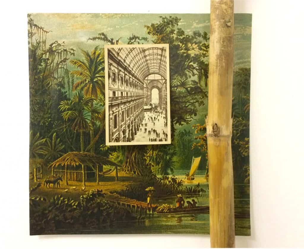 Postcard on book cover and bamboo By Marco Montiel-Soto