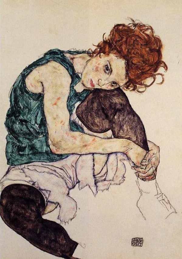 "Egon Schiele, Seated Woman with Bent Knee. In ""Expressionism"" by Ashley Bassie"