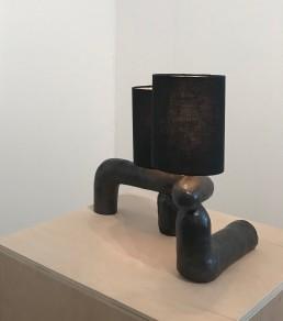 Carmen D'Apollonio, ceramic lamp sculptures, 2019, ceramic, linen shade, dimensions variable