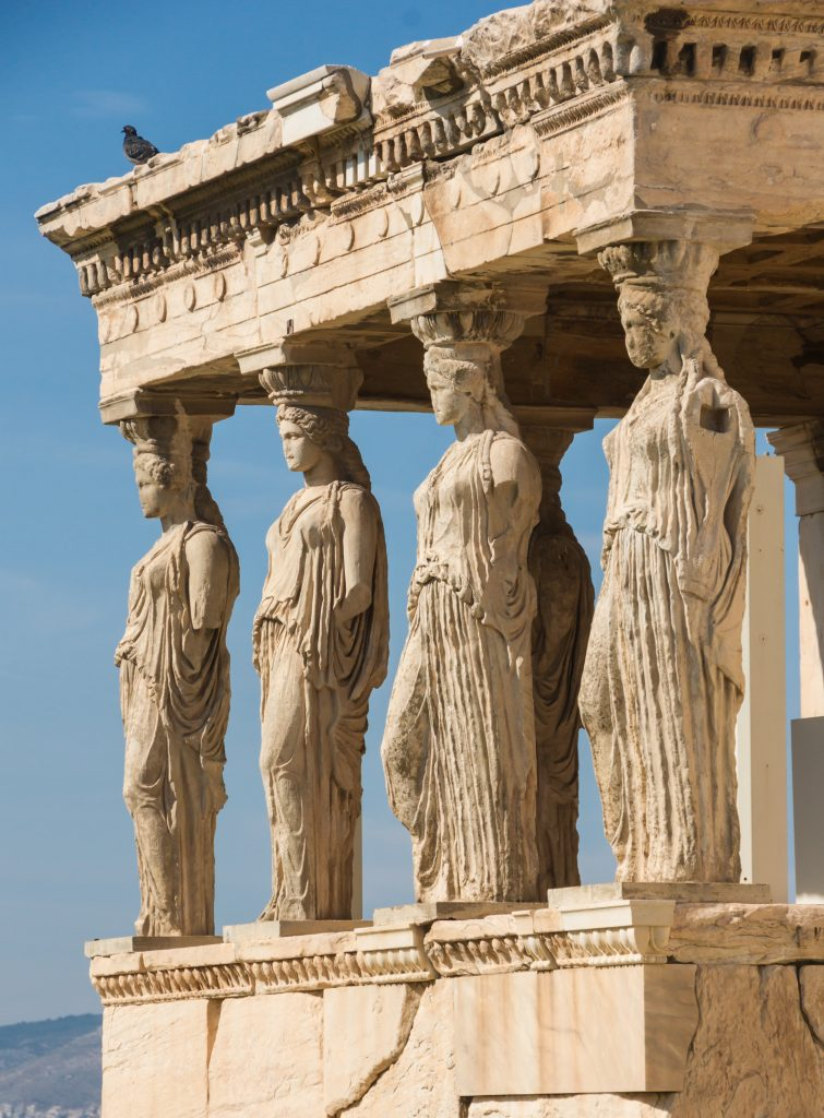 Image of Caryatids in Athens, sculptural precursor to Mutu's facade bronzes