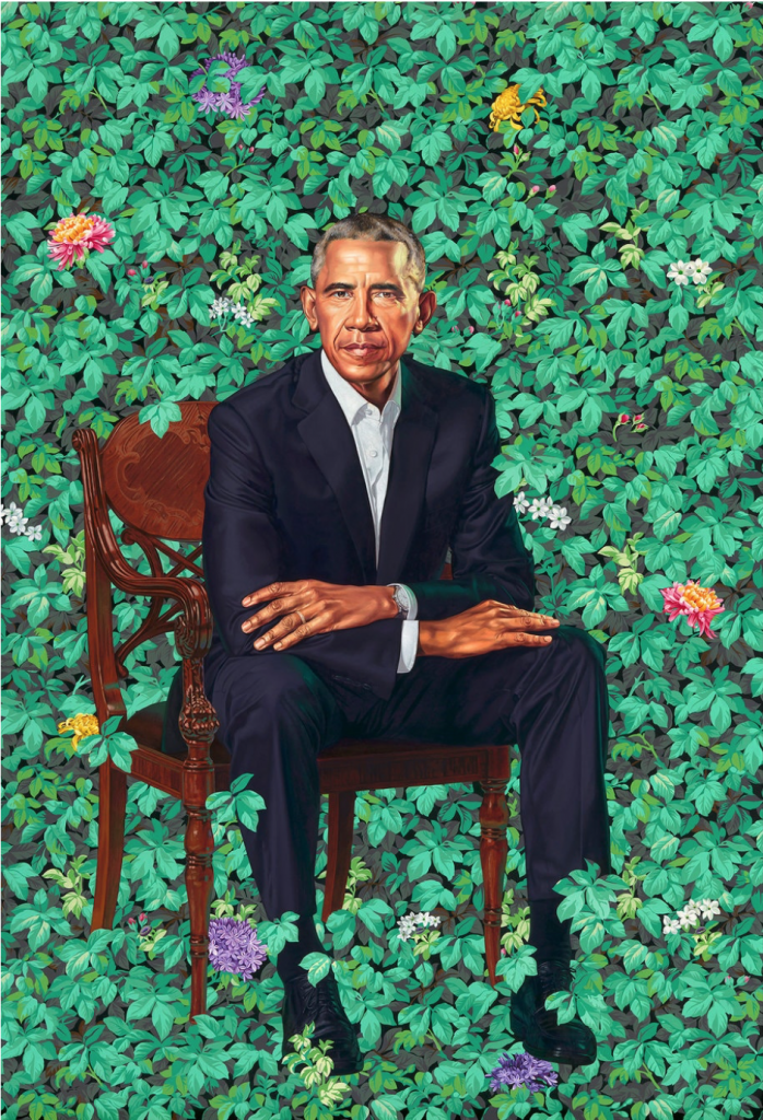 African American artists changing the narrative. Kehinde Wiley portrait of Barack Obama.