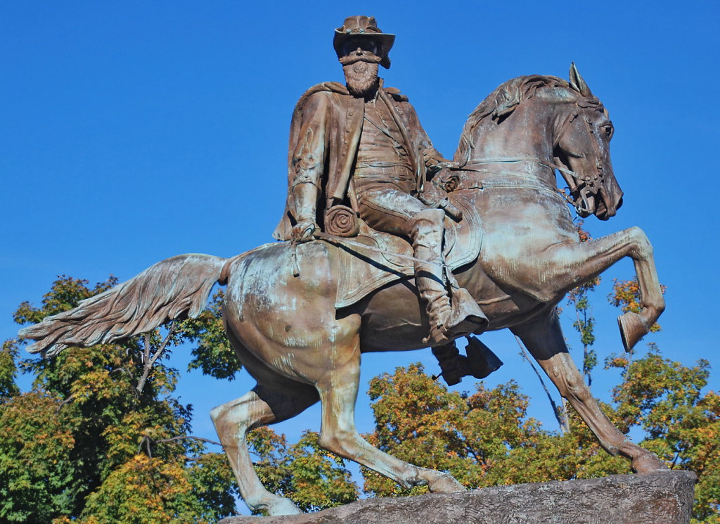 Monument to Confed general Jeb Stuart, inspiration for Wiley's sculpture