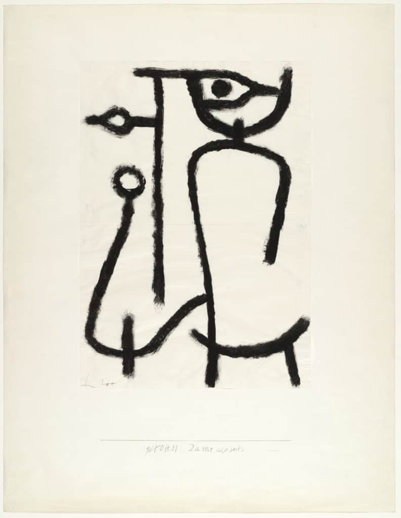 Paul Klee, Lady Apart (Dame abseits), pigmented paste on paper on board, 1940.