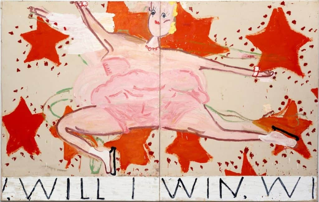 Rose Wylie, Pink Skater (Will I Win, Will I Win), 2015.