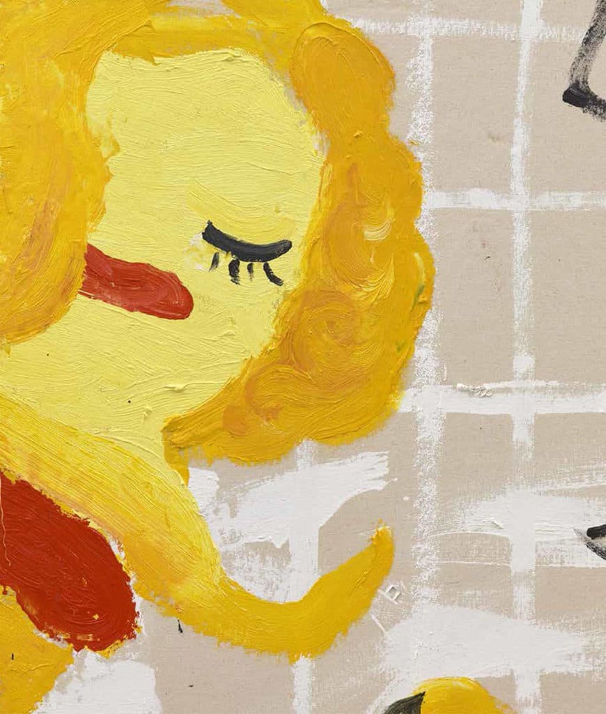 Yellow, Girls I (2017) by Rose Wylie