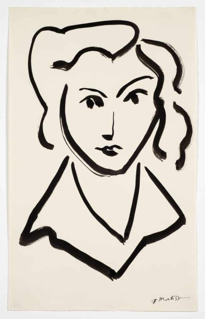 Henri Matisse, Head of a Women, ink on paper.