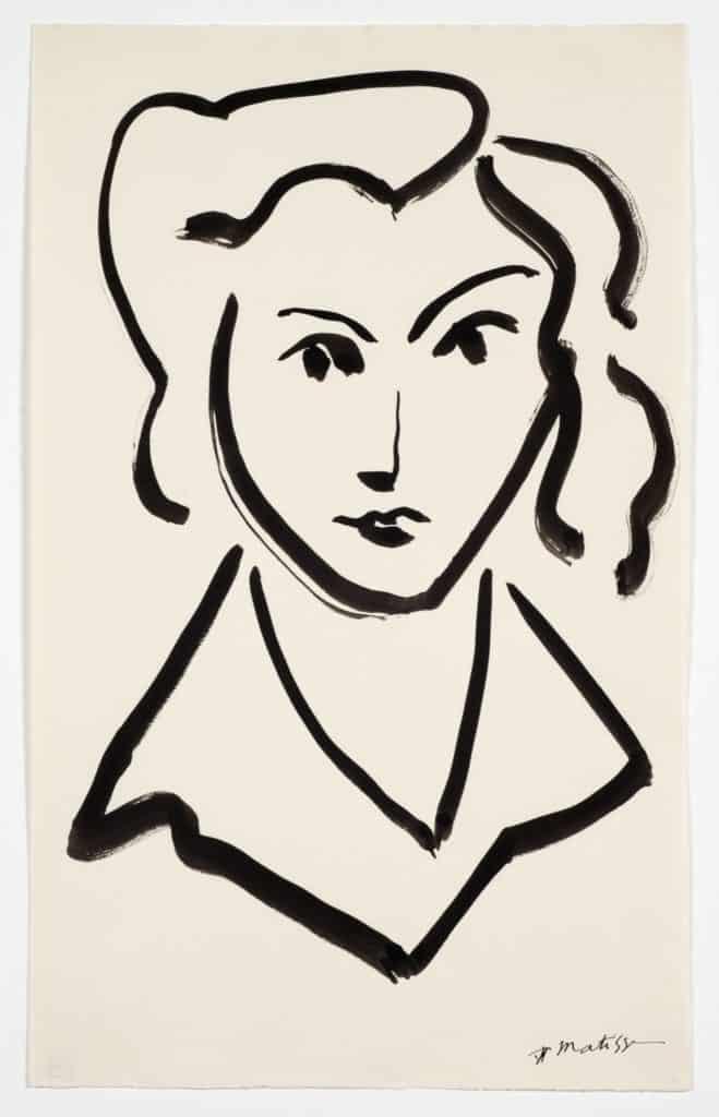 Henri Matisse, Head of a Women, ink on paper.