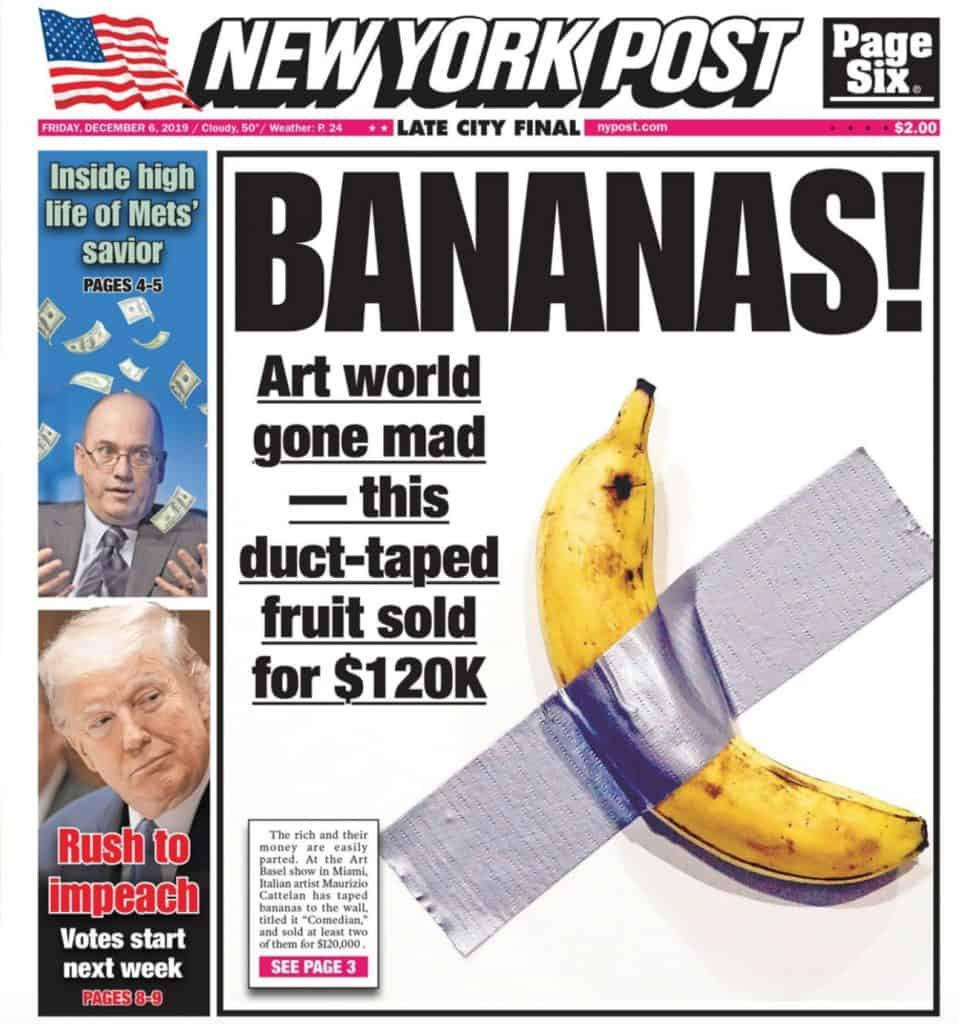 New York Post cover, duck-taped banana