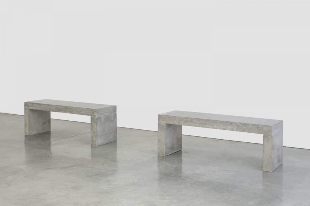 Teresa Margolles, Dos bancos, 2020. Two benches made from a mixture of cement and material sourced from the ground where the body fell of a person shot dead at the northern Mexican border