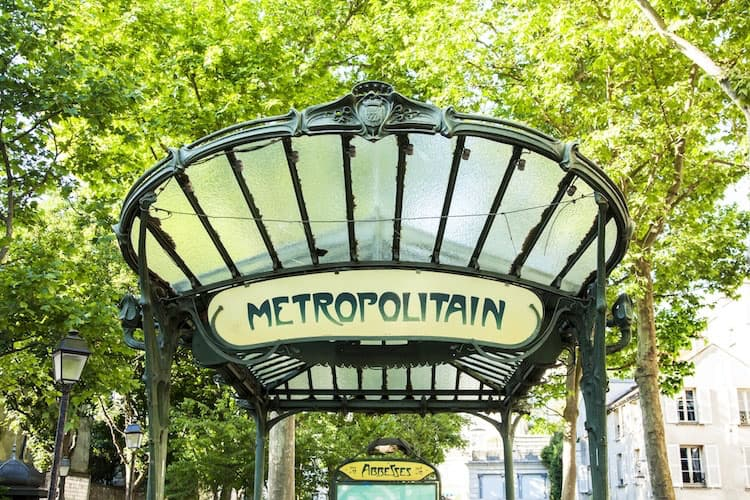 Paris metro entrance, designed by Hector Guimard. Art Nouveau