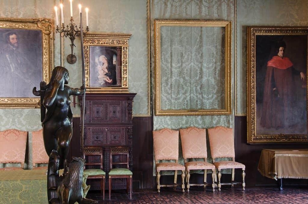 Empty frame at the Isabella Stewart Gardner Museum, Boston.