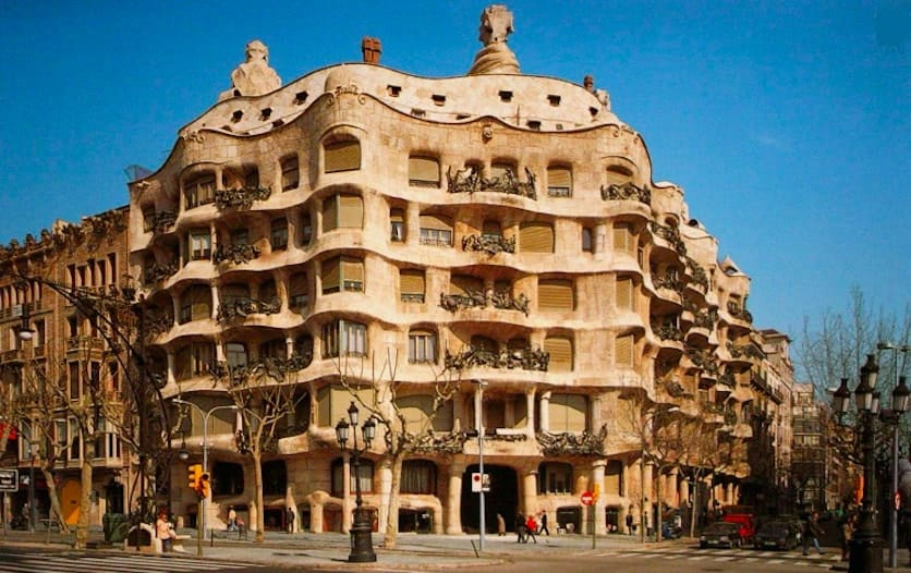 Gaudi's Casa Milà, a renowned Art Nouveau example of Gesamtkunstwerk.