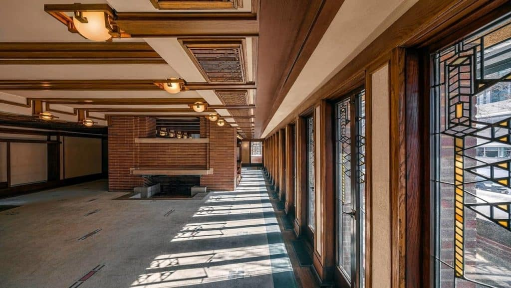 Living room of the Robie House, designed by Frank Lloyd Wright.