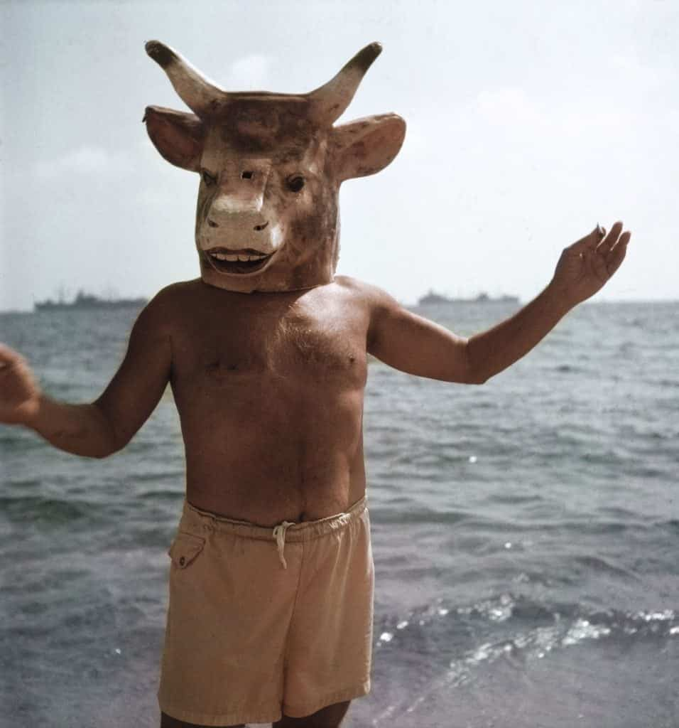 Pablo Picasso in his minotar mask on the beach at Golfe-Juan in 1968