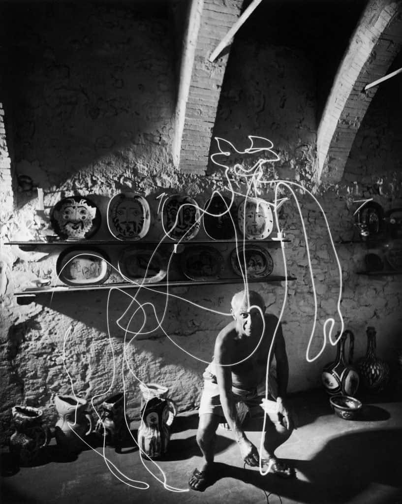 Picasso Drawing With Light, 1949