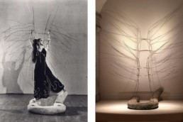Martha Graham with set design pieces for 1946 Cave of the Heart designed by Isamu Noguchi