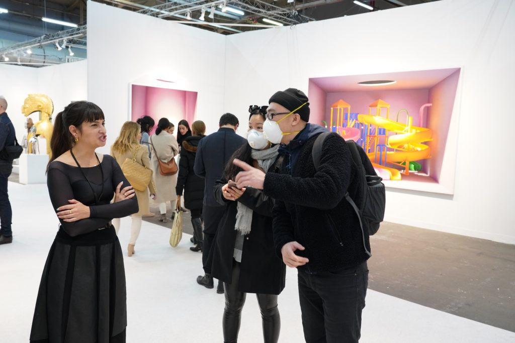 Cautious visitors at The Armory Fair, March 2020
