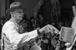 Joseph Beuys during a performance piece in Rome