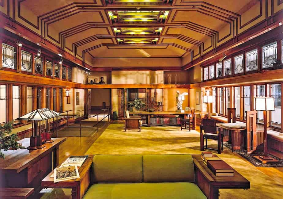Living room of the Francis W. Little House, designed by Frank Lloyd Wright.