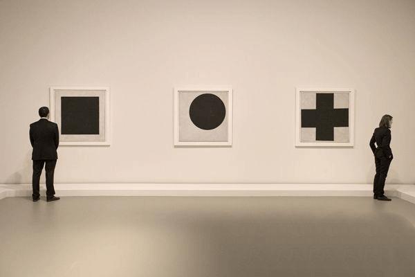 Kazimir Malevich's Black Square, Black Circle and Black Cross triptych, c. 1923.