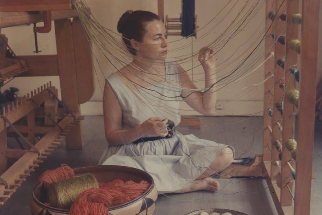Lenore Tawney weaving in her Coenties Slip studio