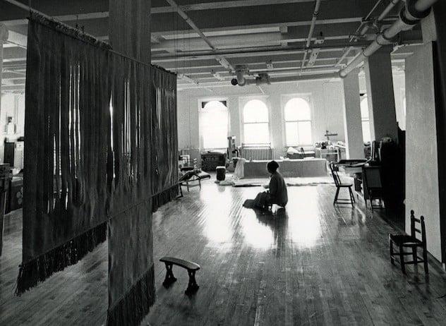 Lenore Tawney in her studio on Wooster Street, 1974