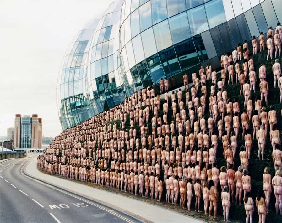 Mass nude photoshoot by Spencer Tunick outside the BALTIC centre for contemporary art, U.K.