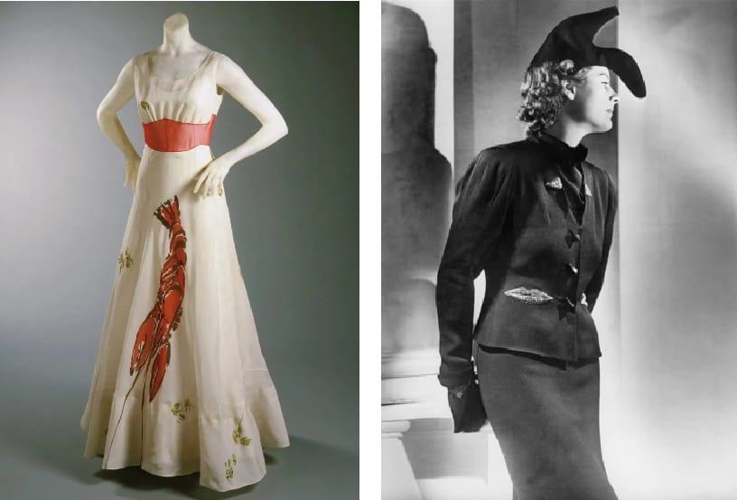 Elsa Schiaparelli and Salvador Dalì, Lobster dress and Shoe-hat (1937)