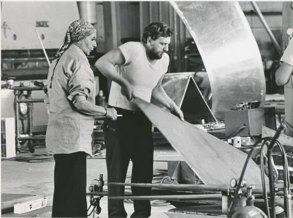 Louise Nevelson with Bobby Giza, at Lippincott, Inc. - 1975