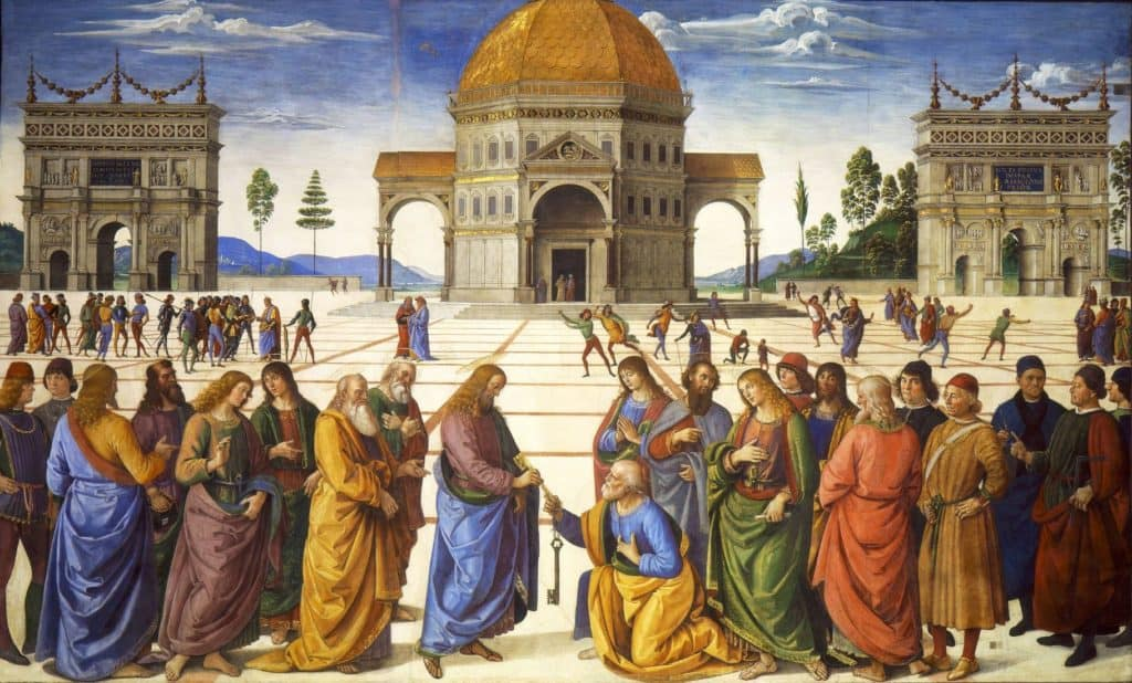 Perugino, Christ Giving the Keys to St. Peter, fresco in the Sistine Chapel (c. 1481–1482).