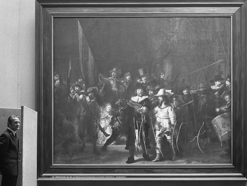 The NIght Watch by Rembrandt (1642) after being vandalised in 1975.