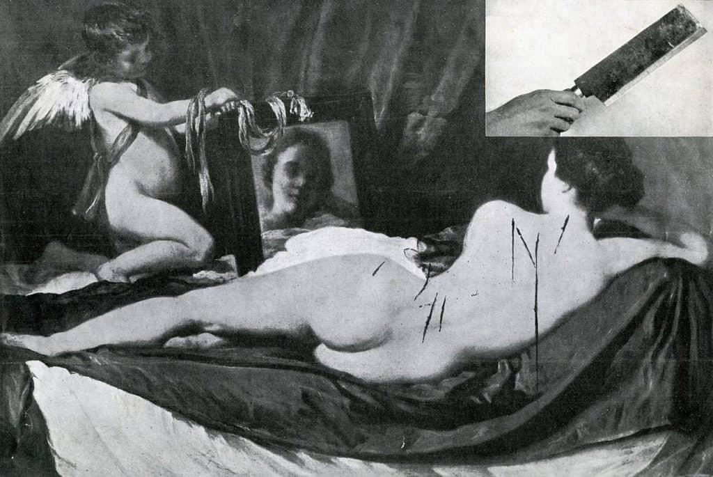 Rokeby Venus by  Diego Velàzquez (1647–51) after being damaged in 1914. Vandalism
