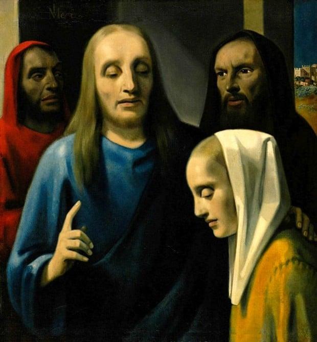 Vermeer forgery by Han Van Meegeren - Woman Taken in Adultery (1942)