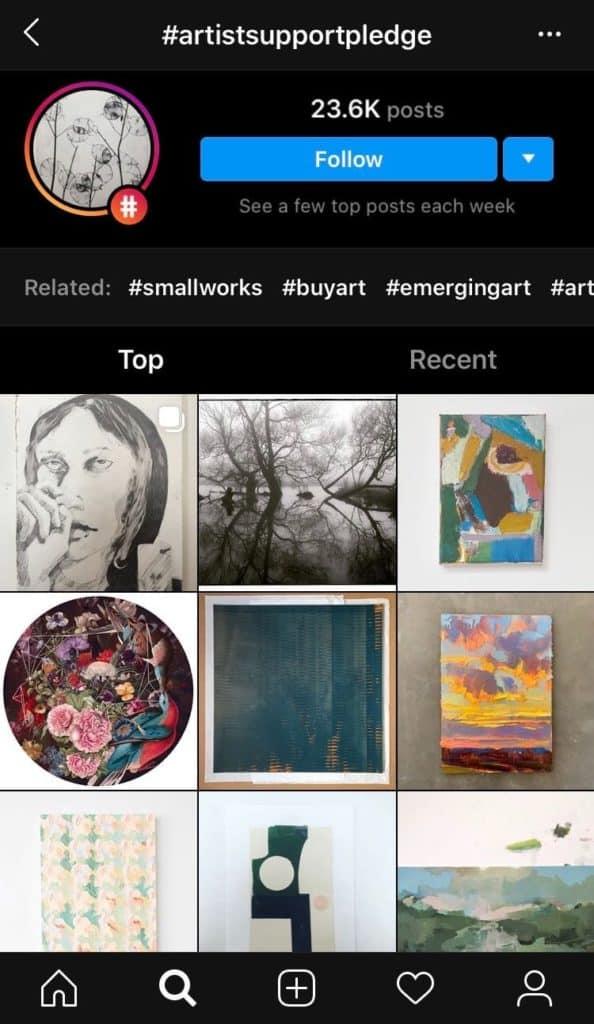 #artistsupportpledge instagram initiative