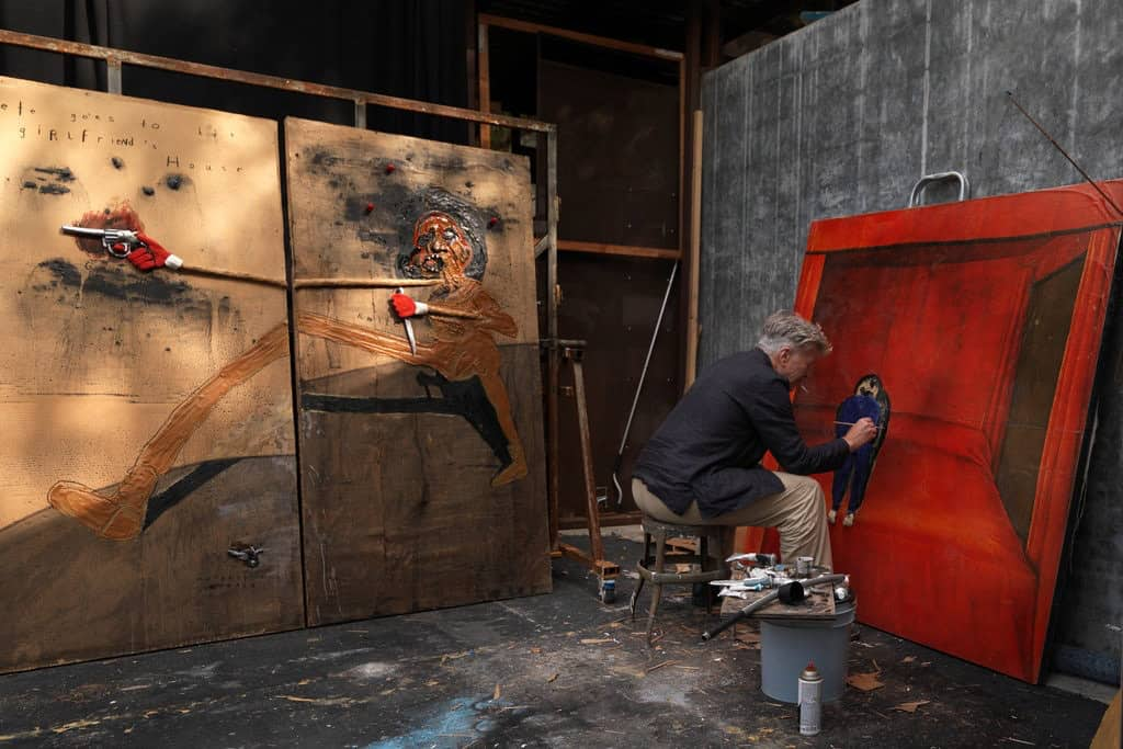 David Lynch at work in his studio in Los Angeles