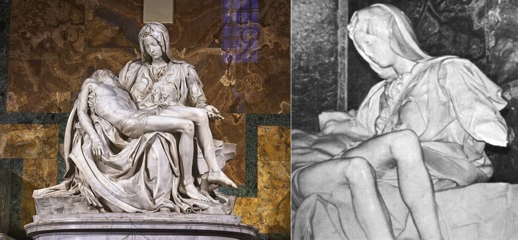 Michelangelo, Pietà, St. Peter's Basilica in Vatican City (1498-9). To the right: the sculpture after the act of vandalism in 1972.