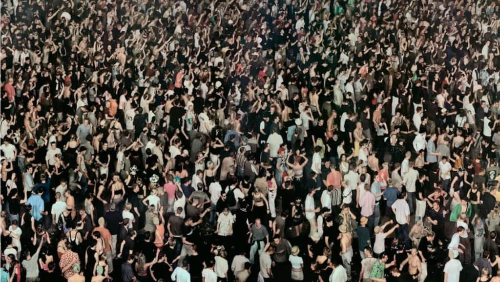 Andreas Gursky - May Day IV.  A multitude of individual shots brought together.