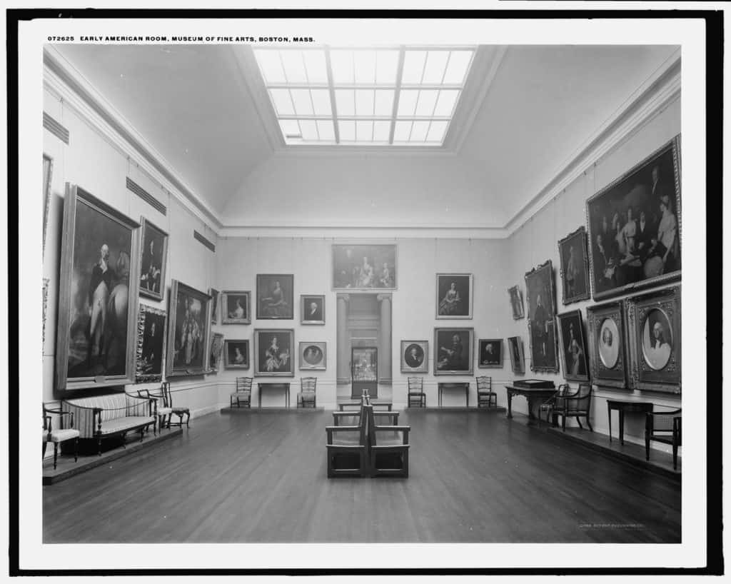 Early American room, Museum of Fine Arts, Boston, 1909.