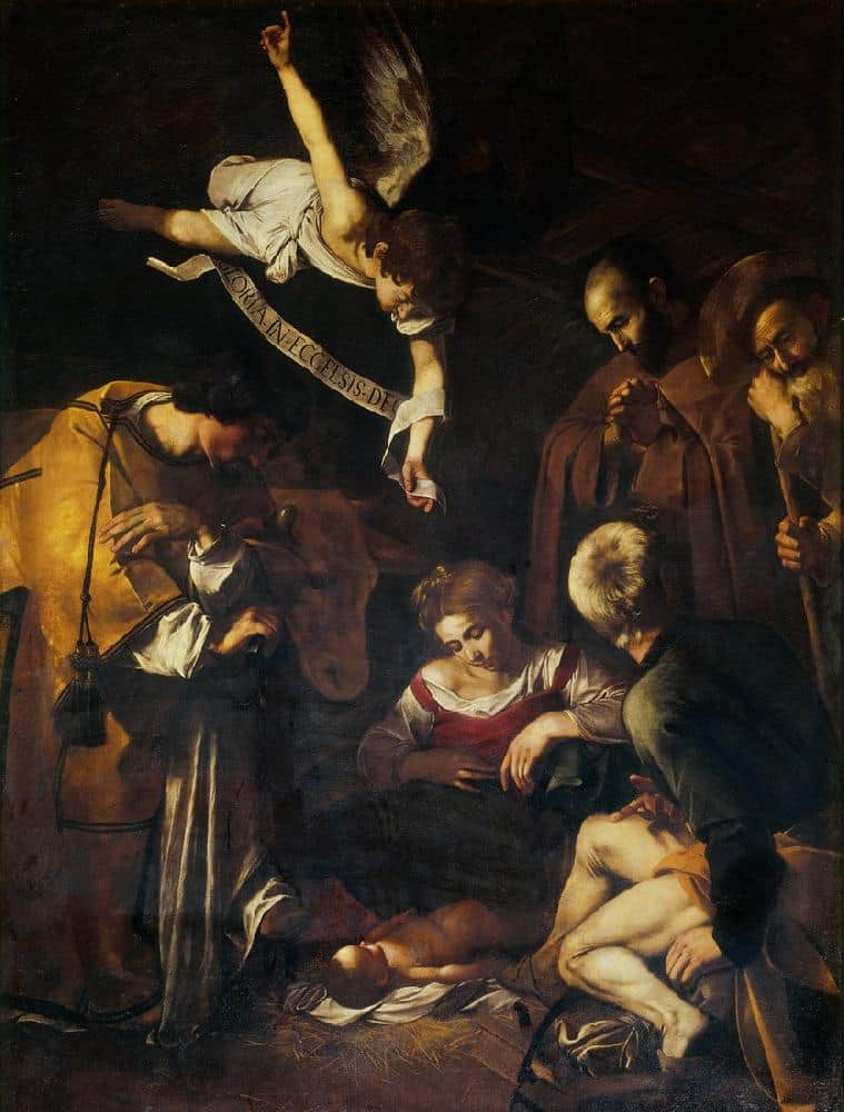 Nativity with St. Francis and St. Lawrence - Caravaggio - 1600