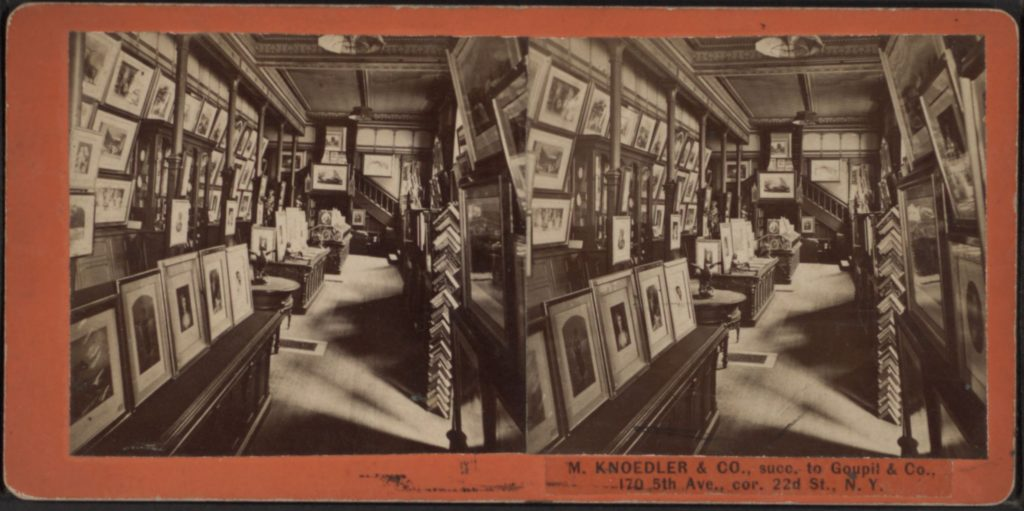 Stereoscopic photograph of the Knoedler gallery interior - William Pym