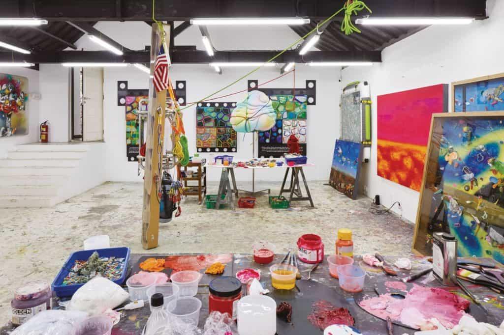 Ashley Bickerton's home studio