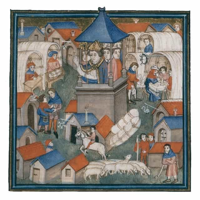 A medieval engraving of a bishop blessing the opening of a fair
