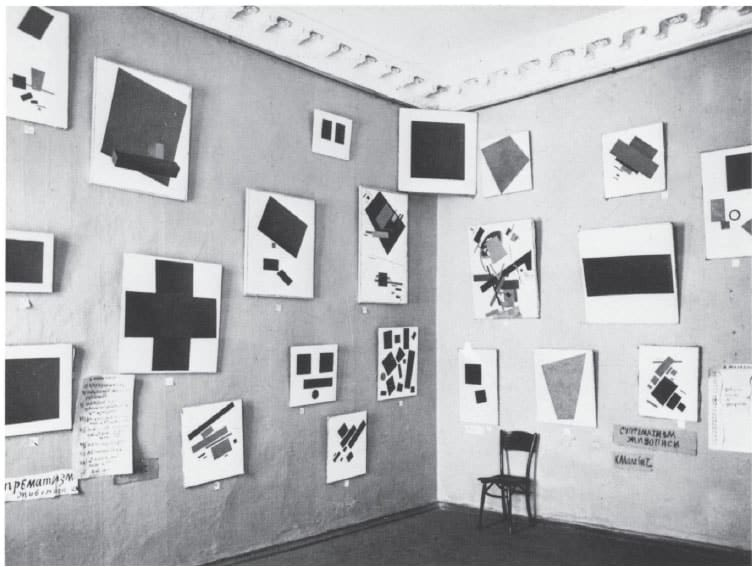 Kazimir Malevich's exhibition at The Last Futurist Exhibition of Paintings - 0.10 (Zero-Ten)
