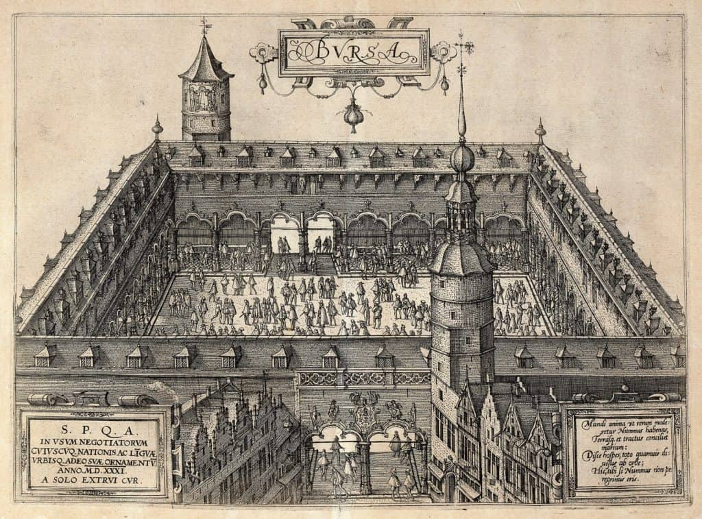 Illustration of a market at the Antwerp's stock exchange in 1531